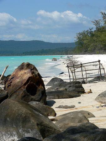 crab pot: Deserted Beach, Koh Rong, Cambodia Stock Photo