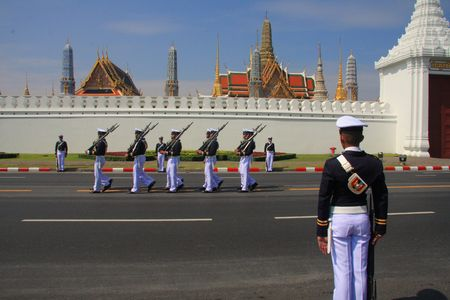 cadet blue: Thai Military Cadets outside Grand Palace