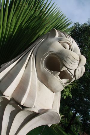 Head of Merlion Statue in Benjakiti Park, Bangkok, Thailand photo