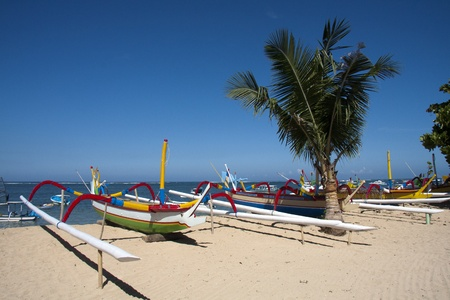 Boats on Sanur Beach, Bali photo