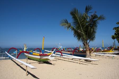 sanur: Boats on Sanur Beach, Bali Stock Photo
