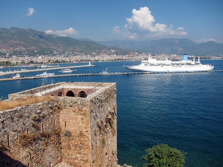 Cruise Ship and Red Tower, Alanya photo
