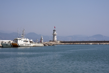 coastguard: Turkish coastguard in Alanya Harbour Editorial