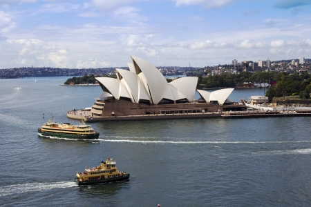 australian landscape: Sydney Opera house and Ferries taken from Sydney Harbour Bridge