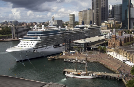 solstice: SYDNEY, AUSTRALIA APR 7TH  The cruise ship Celebrity Solstice in Sydney Harbour on April 7th 2013  This ship is the first in the Solstice class and was launched in 2008