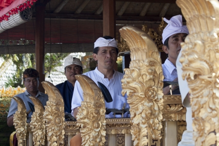 gamelan: BALI, INDONESIA-JUL 6TH: A Gamelan(musical ensemble) plays during the Galungan festival on July 6th 2011 which is held in the 11th week of the 210-day Pawukon calendar.