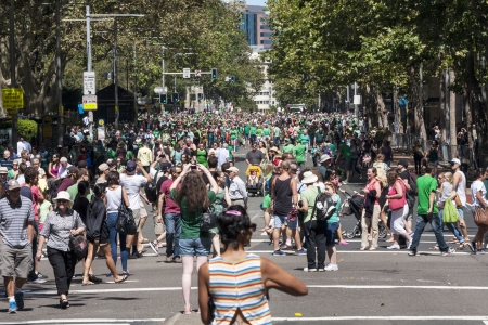 SYDNEY, AUSTRALIA - Mar 17TH  Crowds celebrating St Patrick