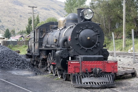 Steam locomotive at refuelling station, Kingston, New Zealand
