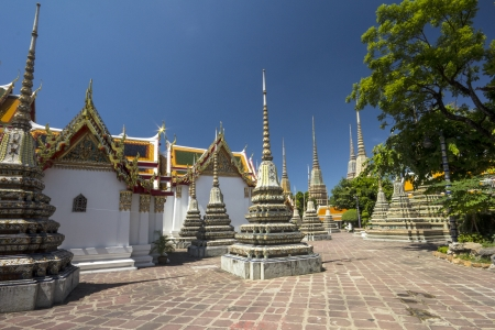 Stupas in Wat Po otherwise known as Wat Phra Chettuphon Wimon Mangkhlaram Ratchaworamahawihan, Bangkok, Thailand photo