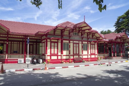 The front of Hua Hin railway station in Prchuap Khiri Khan province, Thailand