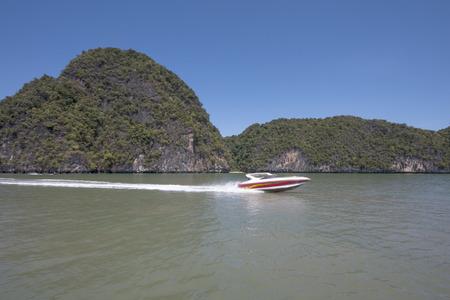 phang nga: A speedboat in Phang Nga Bay, Thailand