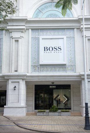 hugo: HO CHI MINH CITY, VIETNAM-OCTOBER 30TH 2013  Hugo Boss store in District 1  Th official distributor in Vietnam and owner of the shop is the Tam Son company