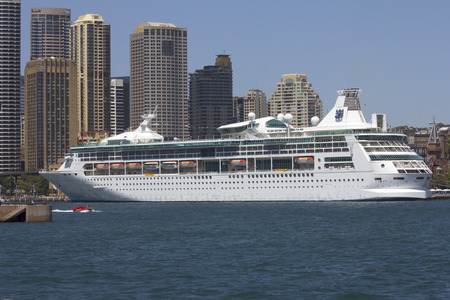 port jackson: SYDNEY, AUSTRALIA-December 19th 2913  The cruise ship Rhapsody of the Seas, moored at Circular Quay in Sydney Harbour  The ship is owned by Royal Caribbean International and was the subject of a  54 million refit in 2012