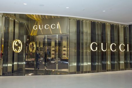 gucci store: Bangkok, Thailand-May 17th 2014. The Gucci store in the Embassy Mall. In the Forbes list of 2013 Gucci was ranked as the 38th most valuable brand.