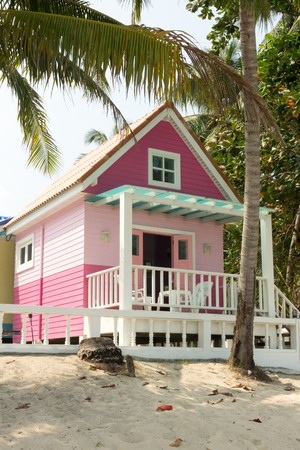 bungalow: Pink bungalow on the beach in Thailand Stock Photo
