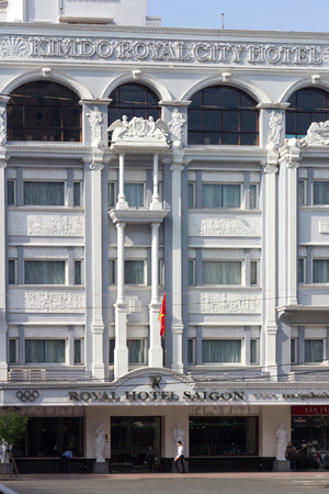 accomodation: Ho Chi Minh City, Vietnam-30th Oct 2013: A man walks past the Royal Hotel.The hotel is owned by the Nikko INternational group.
