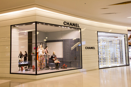 paragon: Bangkok, Thailand-Nov 25th 2014: Chanel store in Siam Paragon Mall. The mall is home to many designer labels.