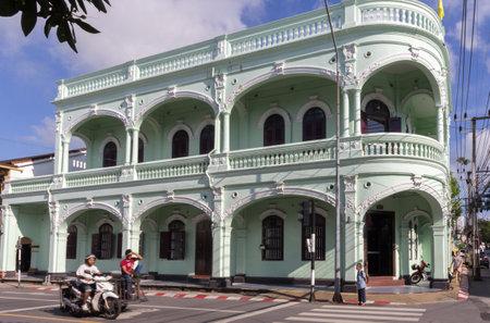 restored: Phuket, Thailand-November 12th 2014: Restored Sino Colonial building. Many old buildings undergoing restoration.