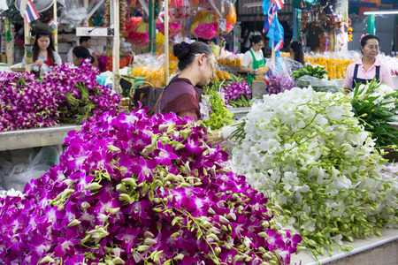 purple orchid: bangkok, Thailand-Sep 25th 2012: Pak Khlong Talad flower market. This is the largest flower market in Thailand. Editorial