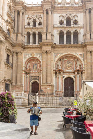 busker: Busker outside Malaga Cathedral, Andalucia, Spain
