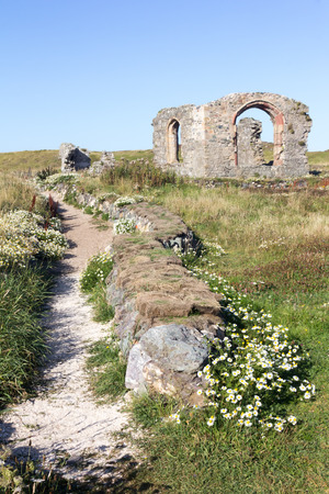 church ruins: Pathway and church ruins on Llanddyn Island, Anglesey,Wales