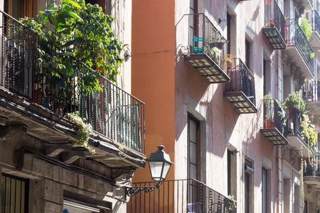 catalunia: Balcomies on a typical Barcelona street Stock Photo