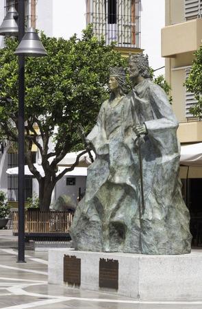 ferdinand: The statue of the Catholic King Ferdinand and Queen Isabella in Plaza de los Reyes Catlicos, Fuengirola, Spain