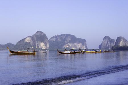 long tail: Long tail boats at Pak Meng beach in Trang Province, Thailand