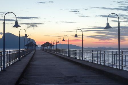 sunup: Khlong Kian Pier, Phang Nga Provincr, Thailand at dawn Stock Photo