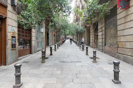 typical: A typical street in Barcelona, Spain