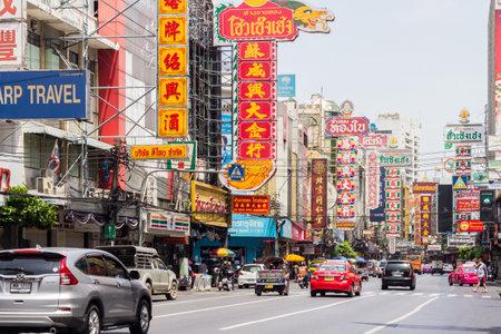 Traffic and chinese signs, Yaowarat Road, Chinatown, Bangkok