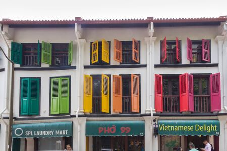 Singapore - 3rd April 2017: Colourful Chinese shophouses in Telok Ayer street. The street was the first in Chinatown to be developed. Editorial