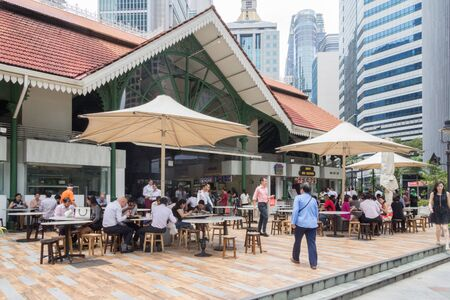 Singapore - 3rd April 2017: Lau Pa Sat Hawker Food Centre. The centre is a popular lunchtime venue for office workers. Редакционное