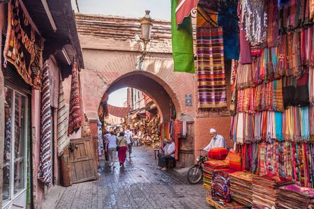 September 15th 2010 - Marrakech, Morocco: Entrance to the souk. The famous shopping bazaar is a favourite with tourists. Editorial