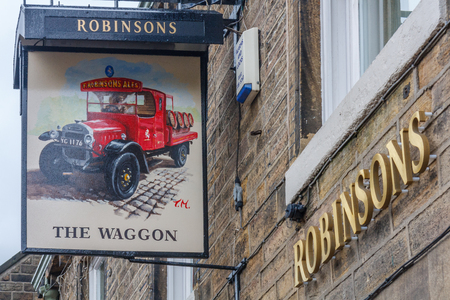 Uppermill, England - August 8th 2011: Robinsons The Waggon public house. The brewery runs a chain of pubs in the north west.