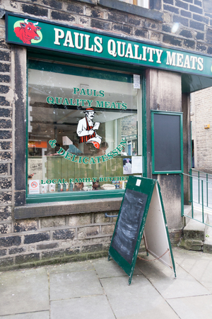Uppermill, England - August 19th 2011: Pauls Quality Meats butchers shop. Very few local butchers have survived.