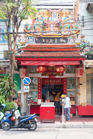 Bangkok, Thailand - April 21st 2011: The Tai Sia Huk Chou Shrine on Rama IV road in Chinatown. There are many shrines and temples in the area.