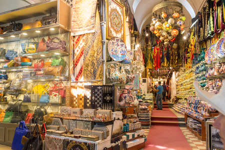 Istanbul, Turkey - September 21st 2015: Souvenir shop in the Grand Bazaar. The shopping area is very popular with tourists.