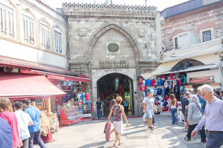 Istanbul, Turkey - September 21st 2015: Entrance to the Grand Bazaar. The shopping area is very popular with tourists.