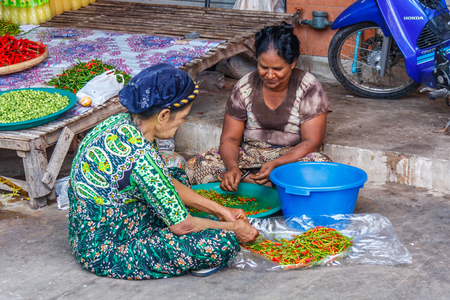 WMae Sot, Thailand - November 20th 2011: omen sat on the floor sorting chillies. The town is close to the Burmese border.