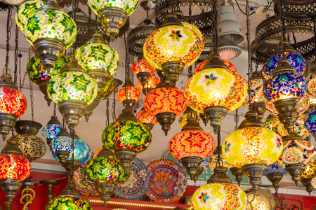 Lamps for sale in the Grand Bazaar, Istanbul, Turkey
