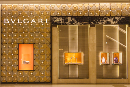 Bangkok, Thailand - March 9th 2017: Bulgari store in shopping mall. The brand is high end and found mainly in upscale shopping malls. 에디토리얼