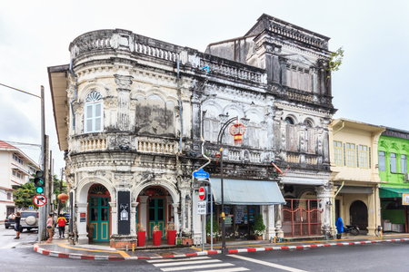Phuket, Thailand - 11th April 2017: Unrestored Sino Portuguese architecture. Many buildings in the city have been restored.