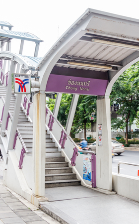 Bangkok, Thailand - 4th August 2017: Stairs to Chong Nonsi BTS station. The skytrain is an integral part of the public transport system.