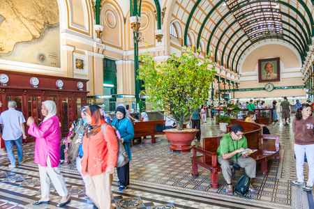 Ho Chi Minh City, Vietnam-February 25th 2010: Interior of Saigon Central Post Office. The building was completed in 1891 and designed by Gustave Eiffel. Publikacyjne