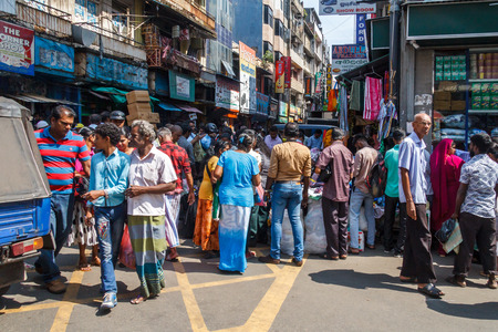 Colombo. Sri Lanka - December 21st 2016: Busy shopping street in the Pettah district. This is the main commercial area. Sajtókép