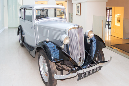 Colombo. Sri Lanka - December 21st 2016. Prince Philips firat car  - a Standard 9 restored and on display at a museum in the Galle Face hotel