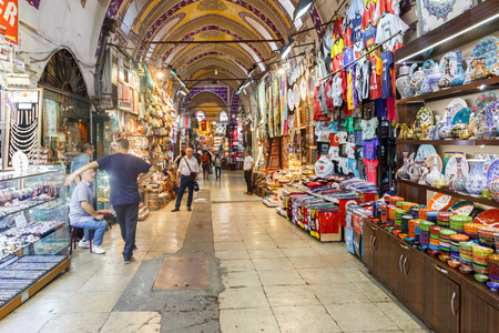 Istanbul, Turkey - September 21st 2015: Inside the Grand Bazaar. Many stalls sell souvenirs to tourists.