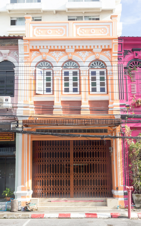 Phuket, Thailand - October 13th 2015: Renovated shop house on Phang Nga road, Old Phuket Town. Many of the shop houses have been restored.