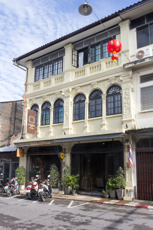 Phuket, Thailand - October 13th 2015: The Romanee Classic Guesthouse, Old Phuket Town. Many new accommodations have sprung up in the town.